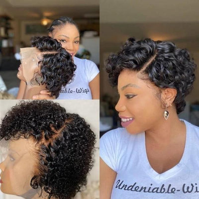 Super Natural Short Wave Bob 360 Lace Wig Human Hair Wig