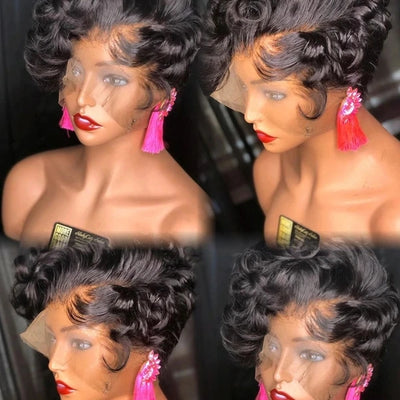 Short Curly Bob Lace Front Wig Mongolian Remy Human Hair