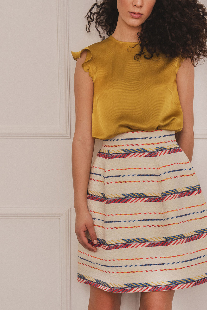 BALLOON SKIRT MULTICOLOURED STRIPES