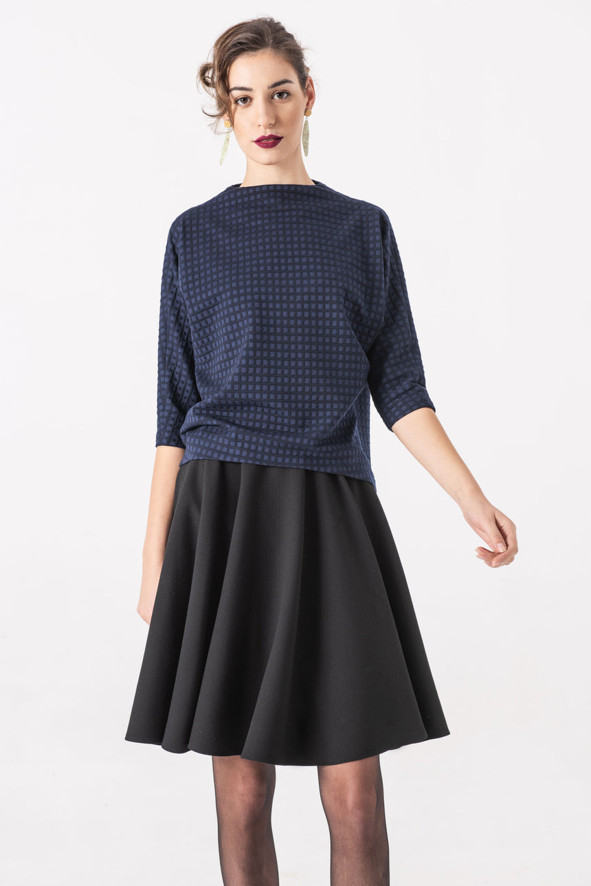 BLUE CHEQUERED BLOUSE, BAT SLEEVE