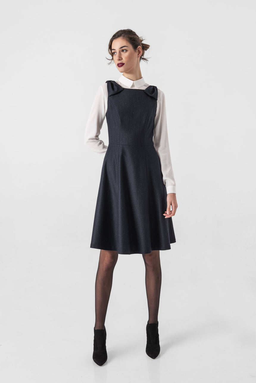 NAVY BLUE PINAFORE DRESS, BOW STRAPS AND SIDE POCKETS