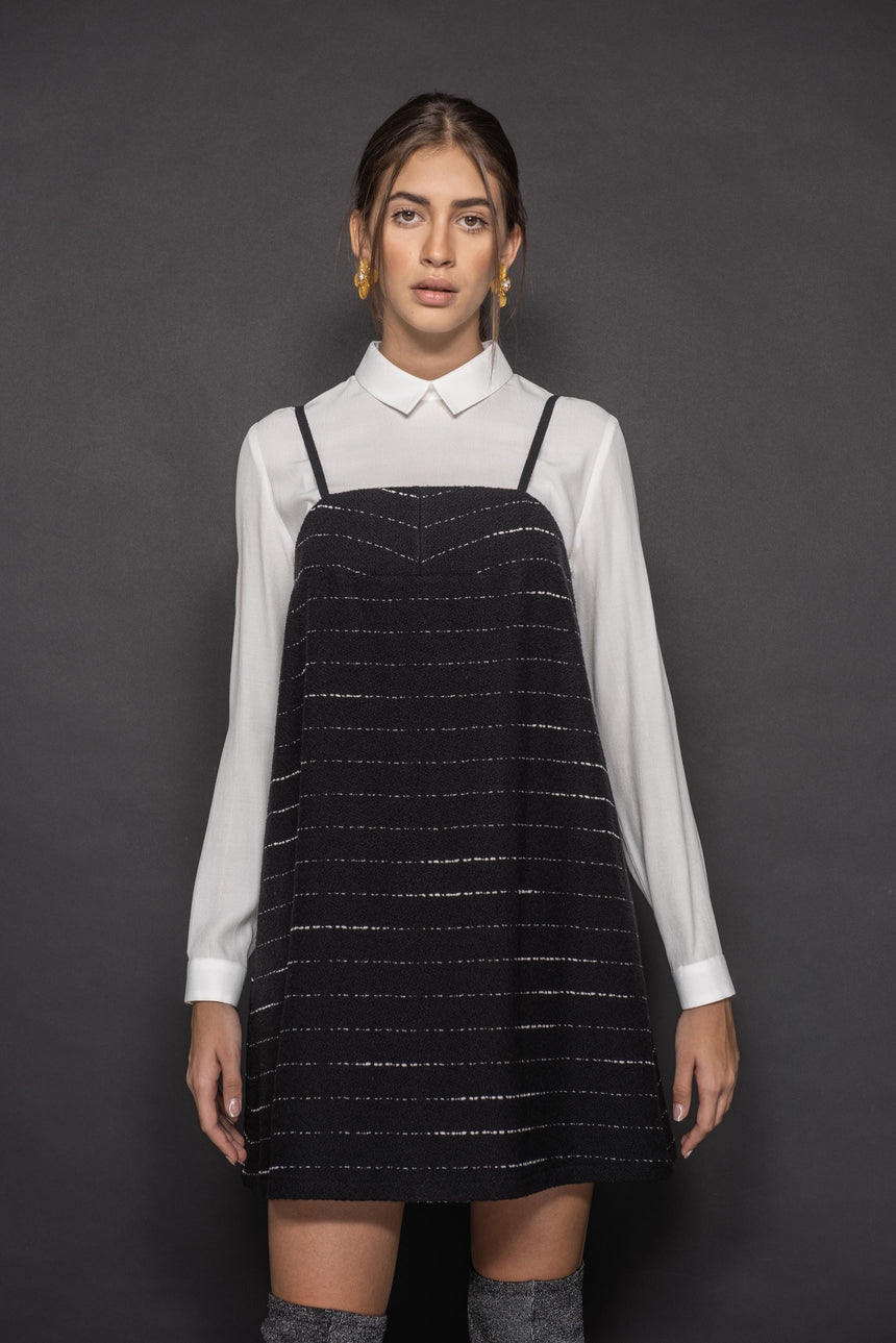 PINAFORE TYPE STRIPED DRESS WITH THIN STRAPS