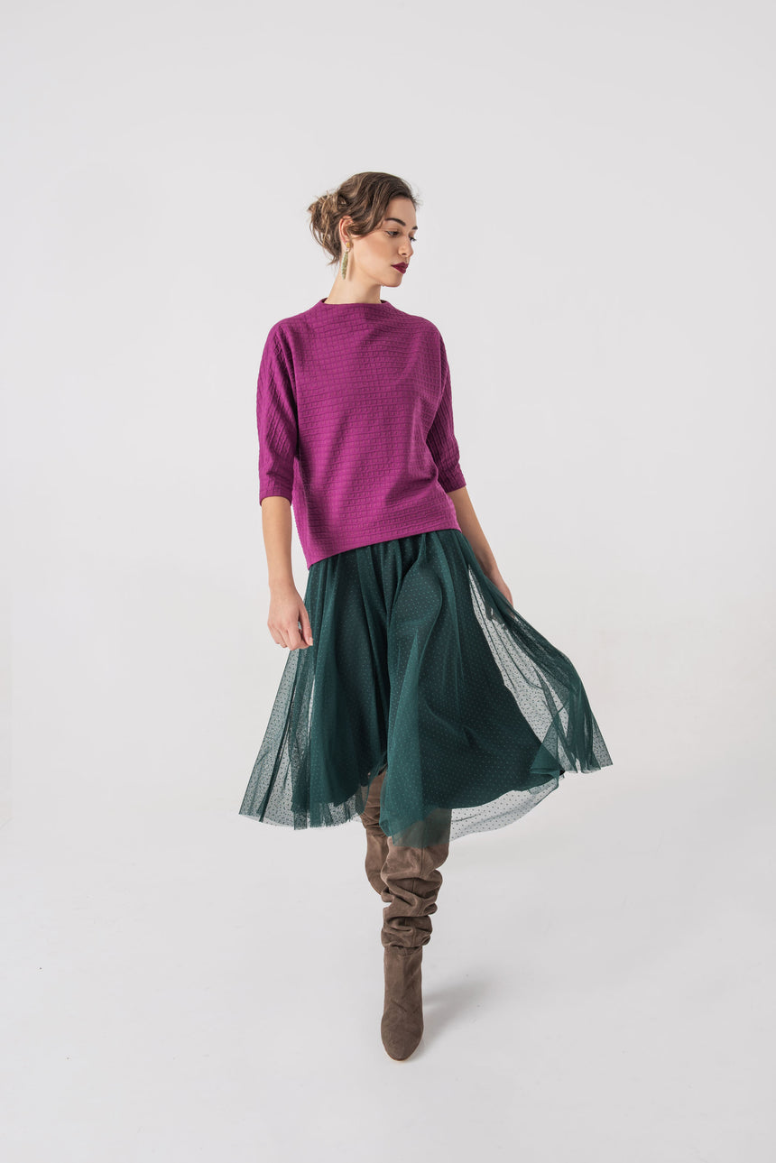 PETROL GREEN MIDI SKIRT DOTTED TULLE