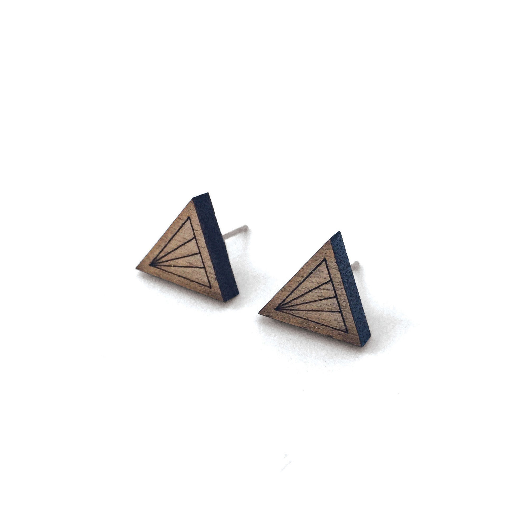 Geometric Walnut Earrings - Triangle