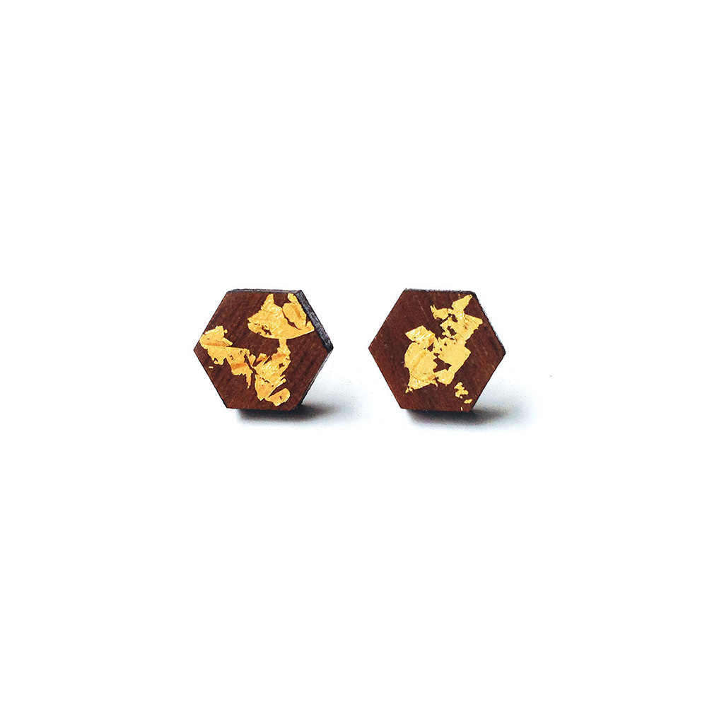 Wood and Gold Earrings - Hexagon
