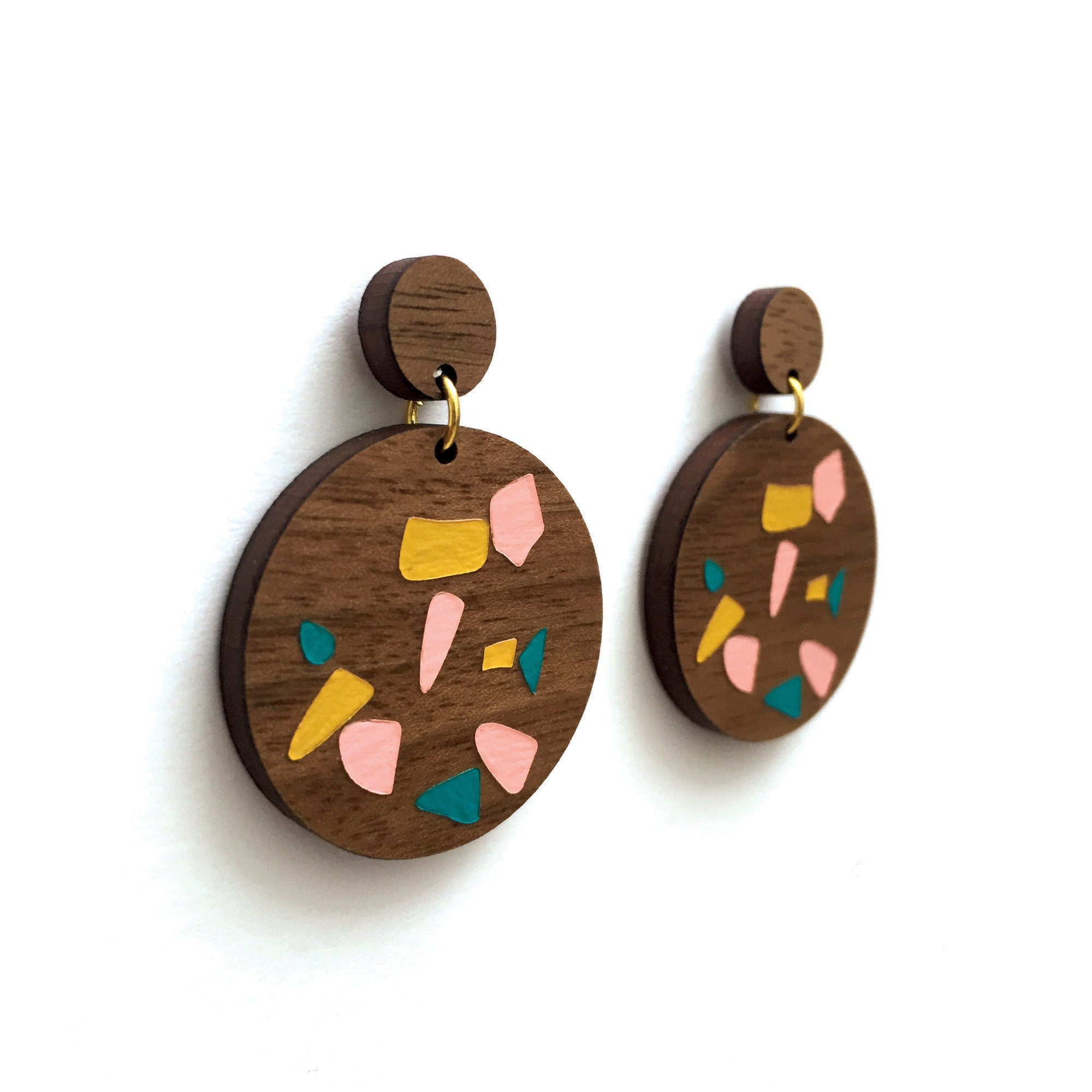Walnut Terrazzo Dangle Earrings