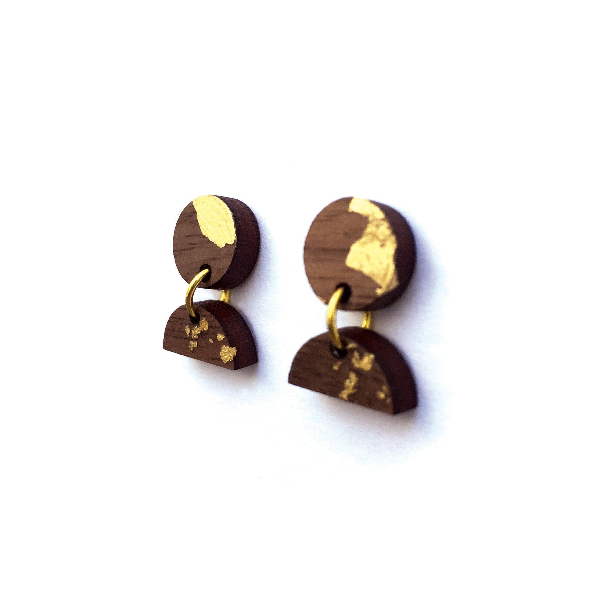 Wood and Gold Dangle Earrings - Two Tier