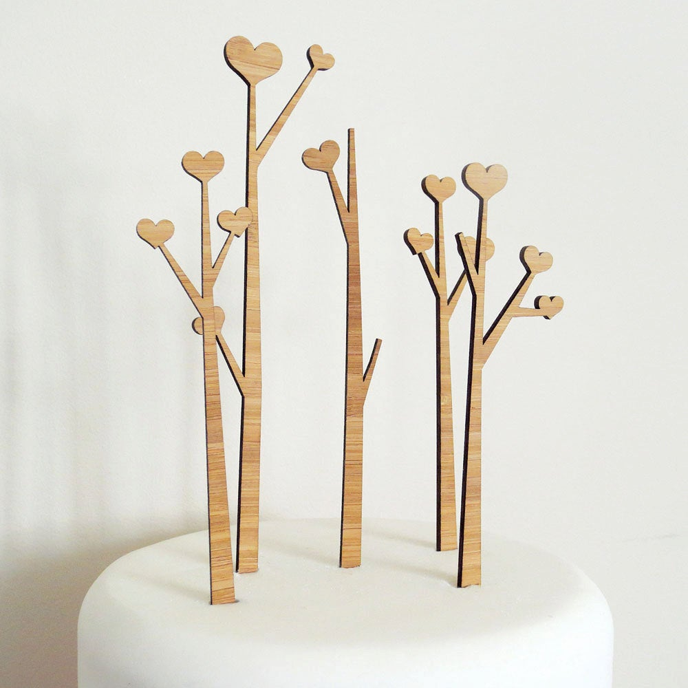 Heart Trees Cake Topper Set