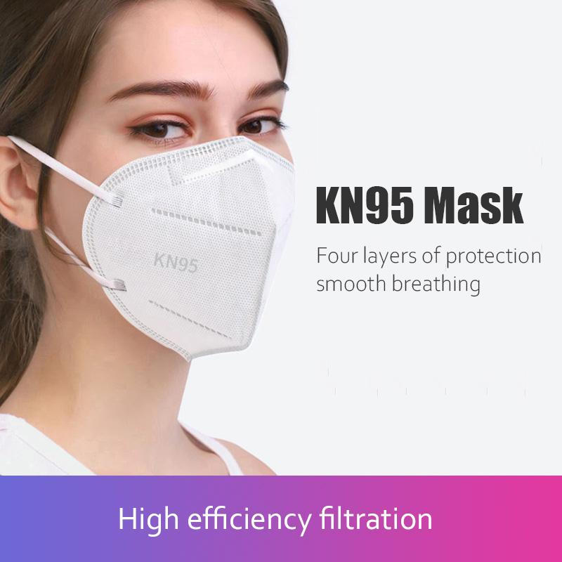 10PCS Five-Layers Structure Multiple Protection White  KN95 Face Masks