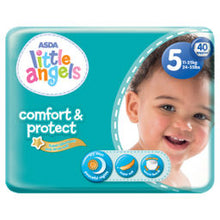 Load image into Gallery viewer, Asda Little Angels Comfort & Protect Size 5 (11-25kg) Nappies