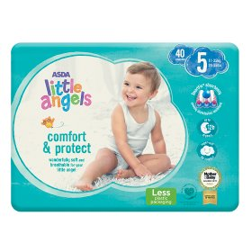 Asda Little Angels Comfort & Protect Size 5 (11-25kg) Nappies