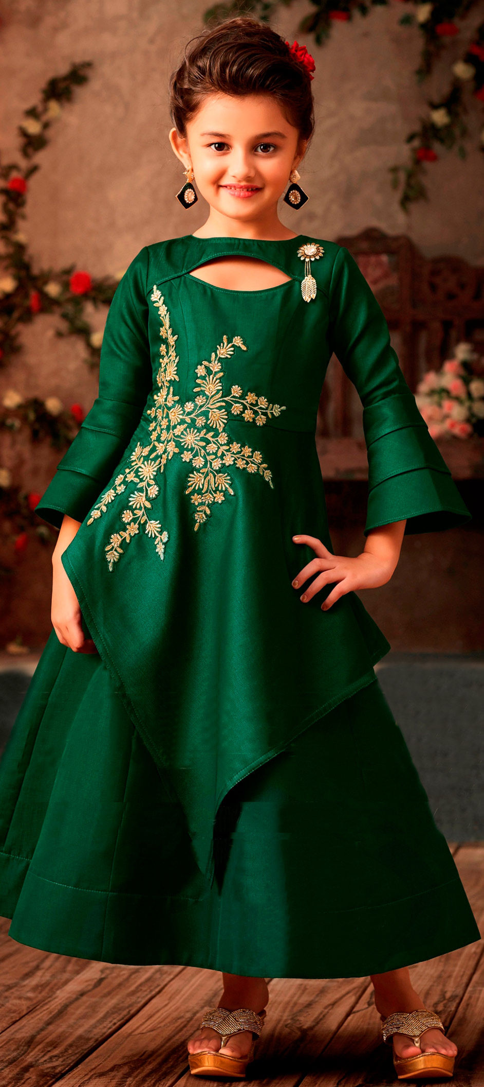 Satin Silk Girls Gown in Green with Bugle Beads work