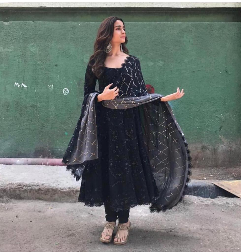 Alia Bhatt  Black Georgette Indian Dress Material