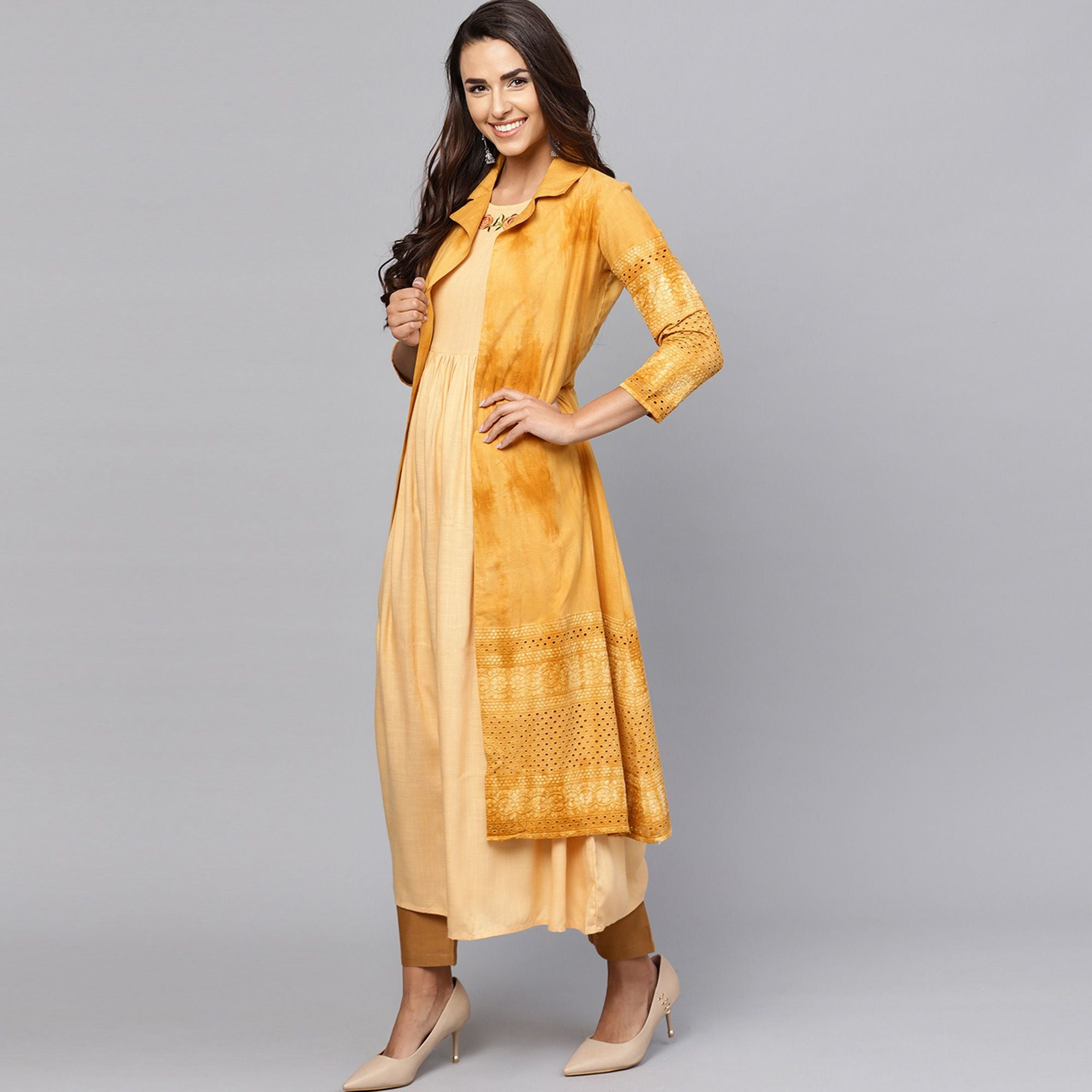 Alluring Beige-Mustard Yellow Colored Partywear Cotton Kurti