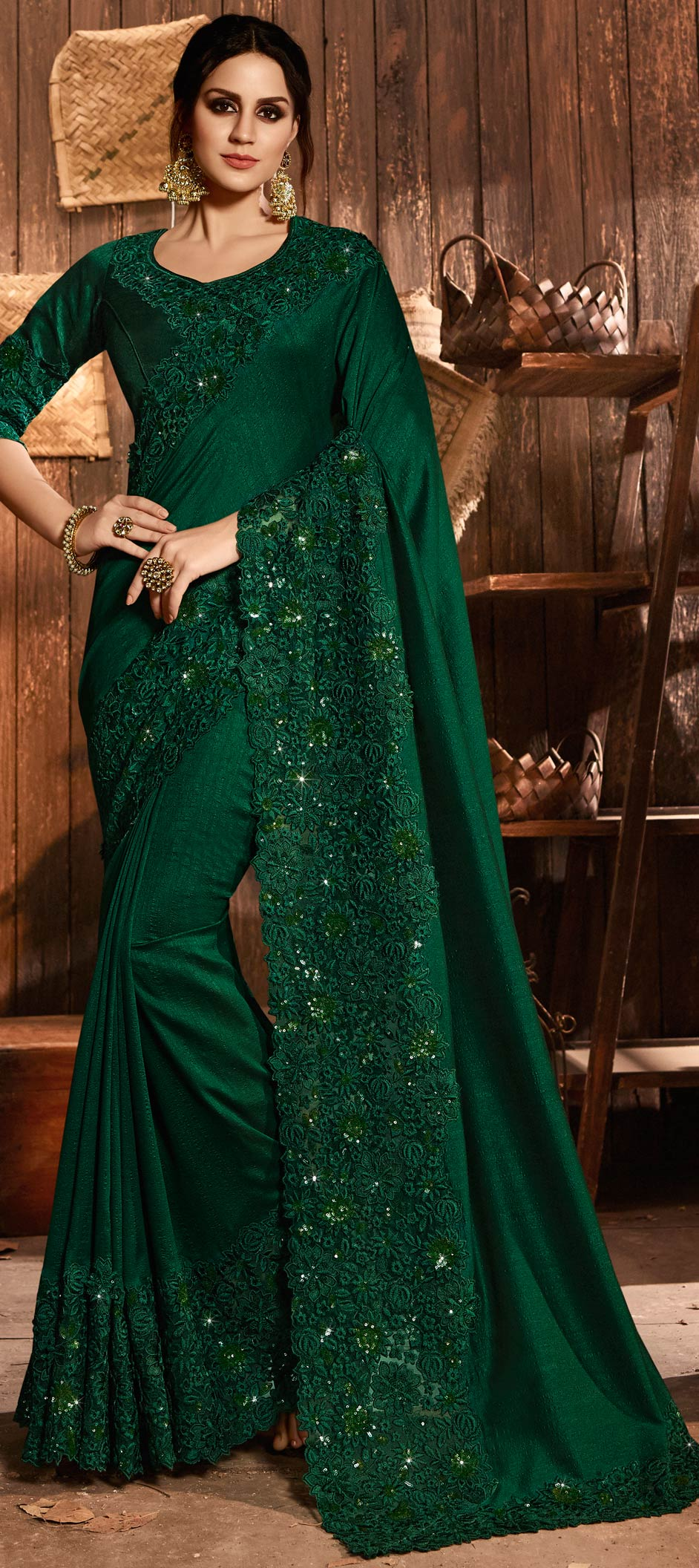 Art Silk Bollywood Saree in Green with Resham work