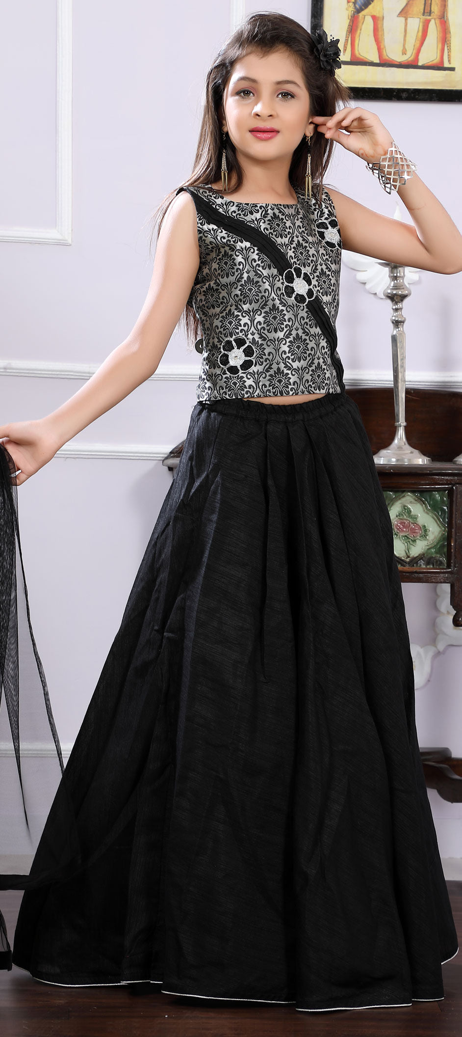 Art Silk Kids Lehenga in Black and Grey with Patch work