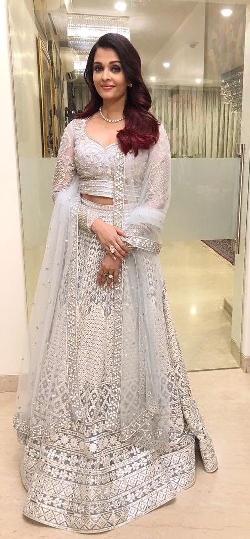 Aishwary Rai Wedding Wear White Color Embroidery Lehenga Choli