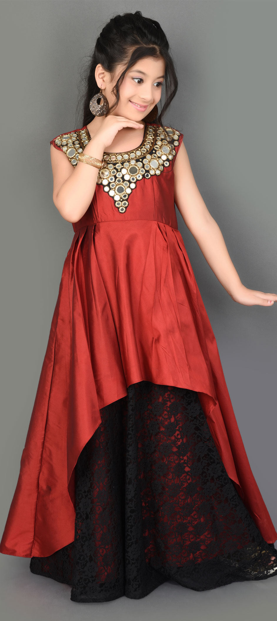 Taffeta Silk Girls Gown in Red and Maroon with Patch work