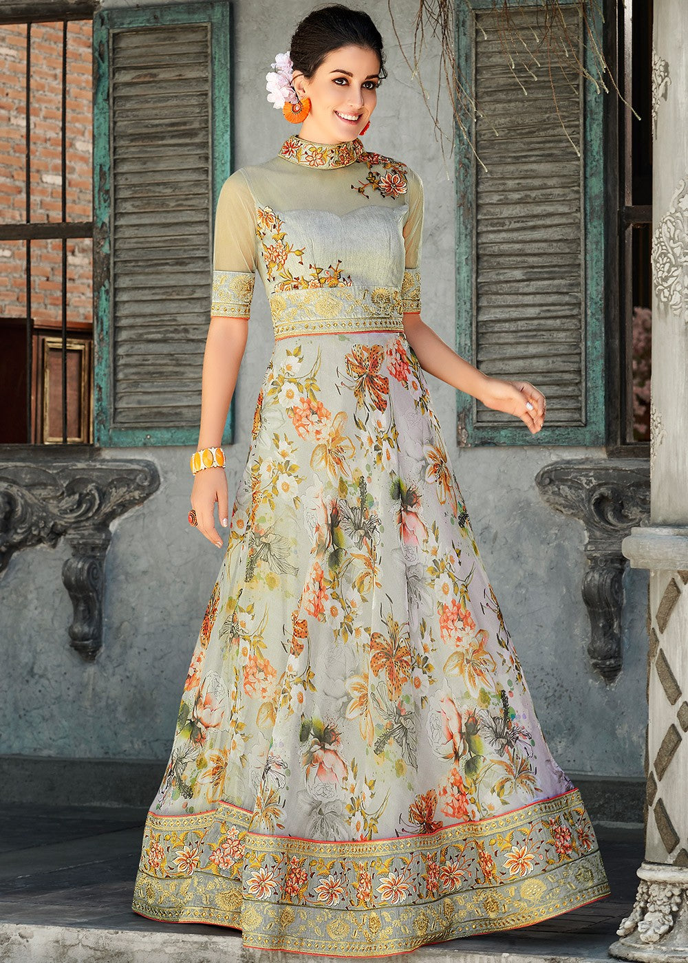 Grey Floral Digital Print Organza Silk Readymade Gown