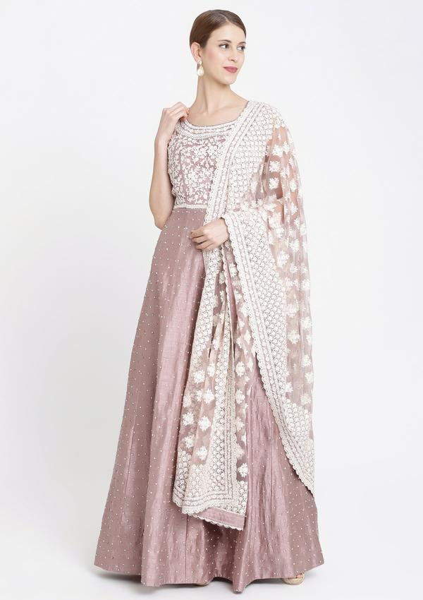 MAUVE THREADWORK RAWSILK DESIGNER GOWN
