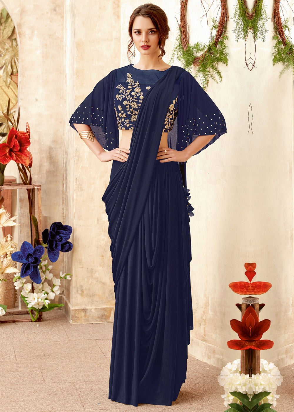 Navy Blue Lycra Contemporary Saree