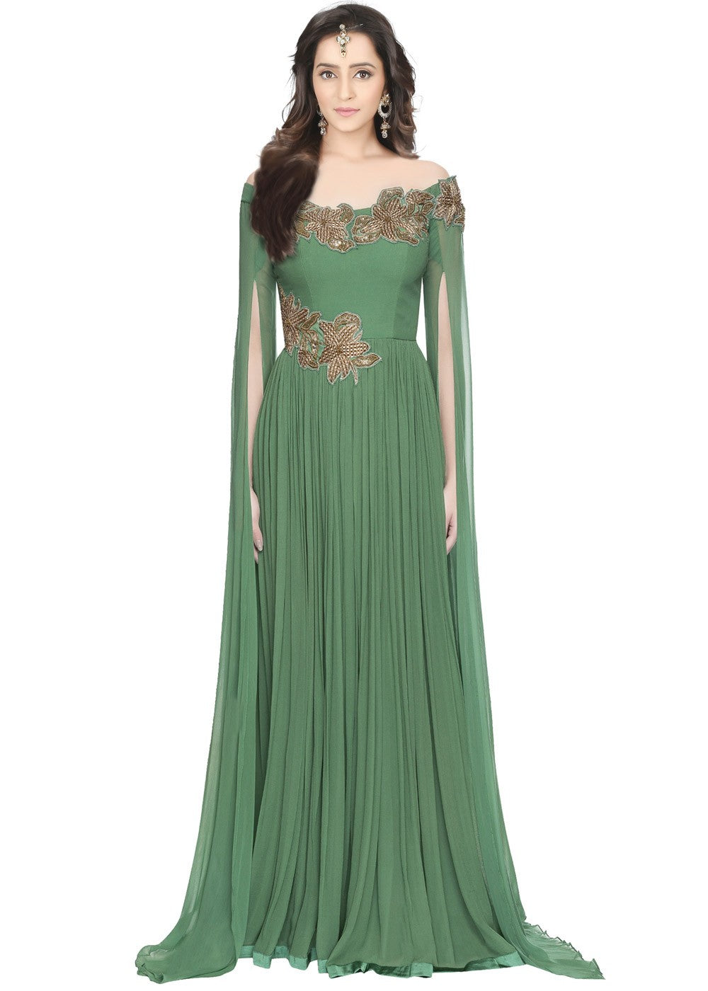 Readymade Green Georgette Indo Western Gown