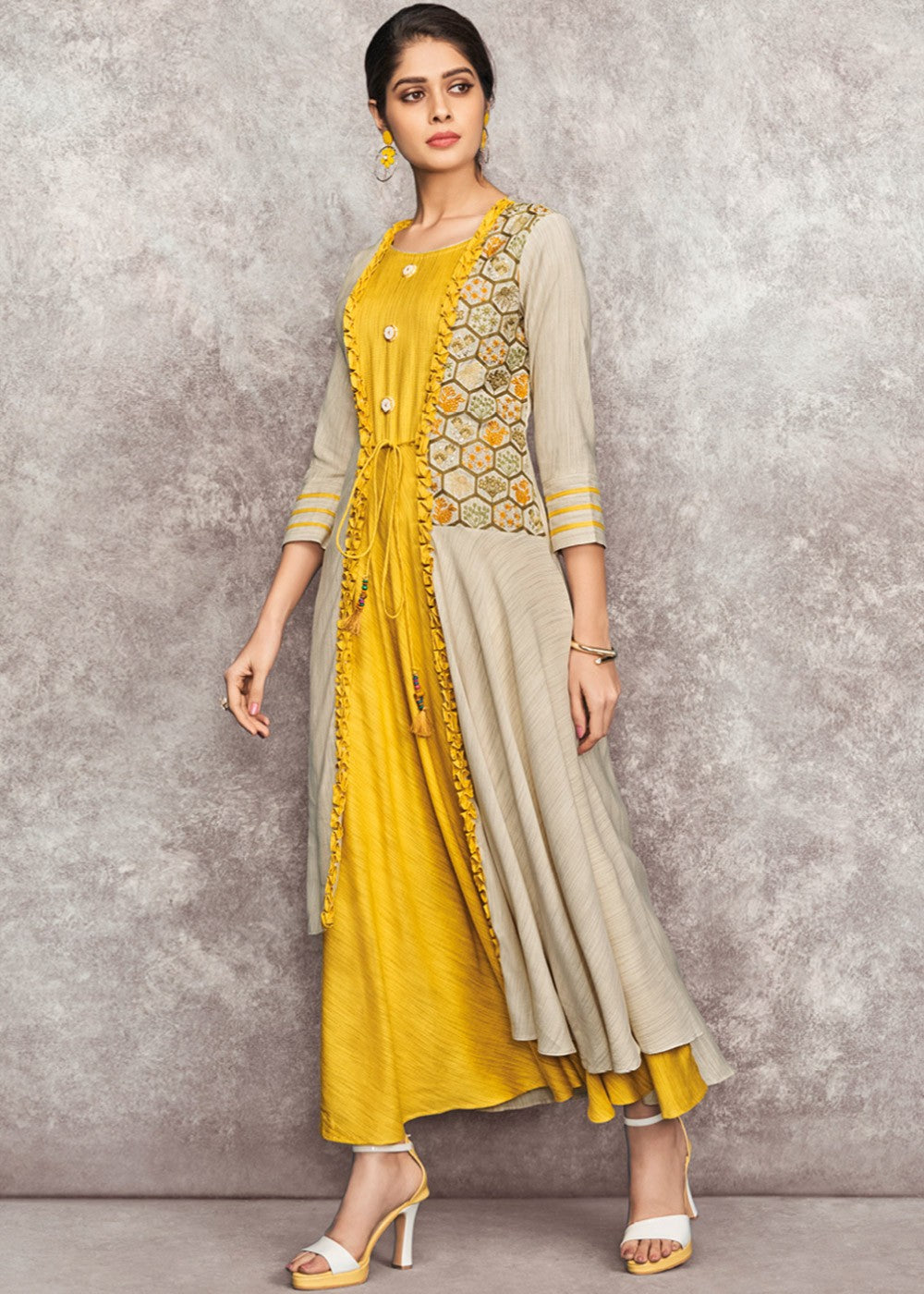 Yellow Flared Readymade Dress With Jacket