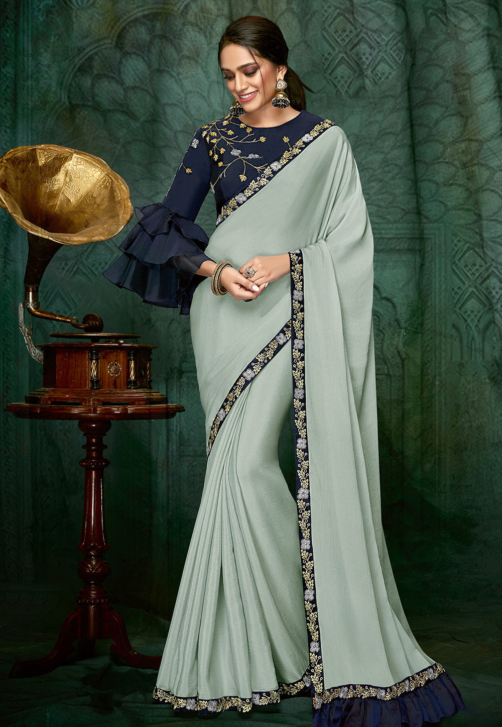 Light Blue Silk Party Wear Saree