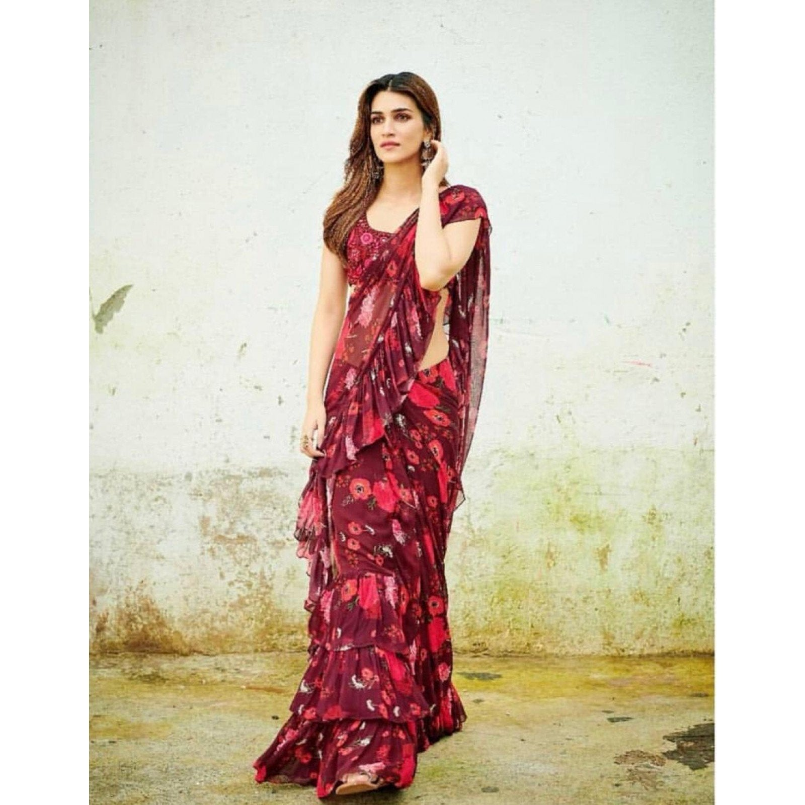 Bollywood Party Wear Kriti Red Floral Color Saree