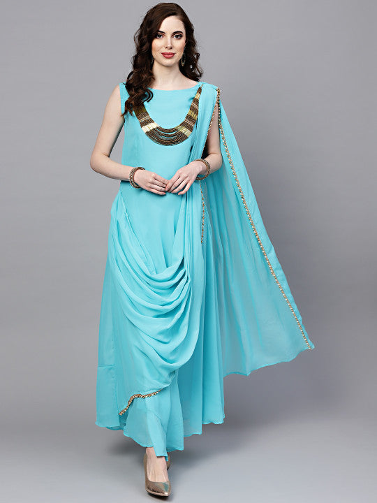 Women Turquoise Blue Solid Maxi Dress with Attached Pallu & Necklace