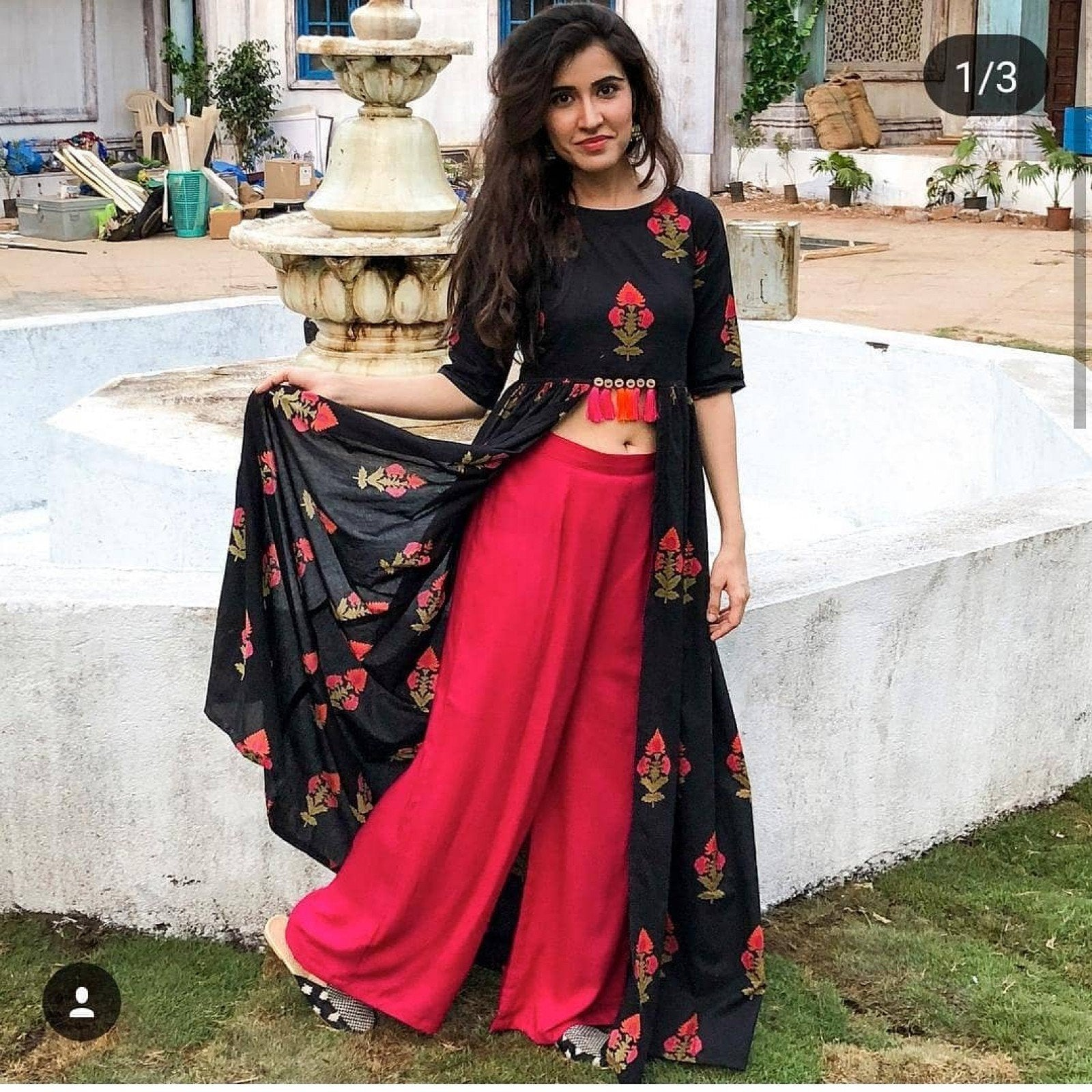 Affectionate Black With Pink Rayon Printed Indo Western Wear