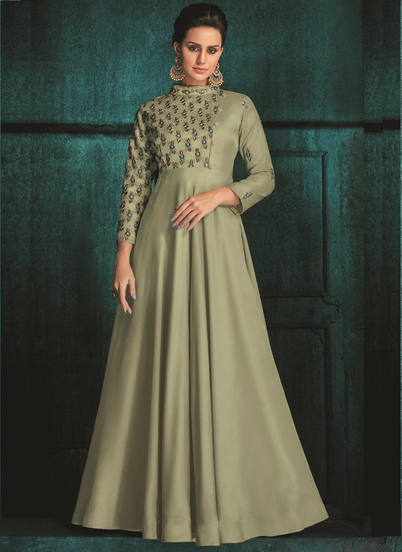 Craftsvilla Green Silk Embroidered Circular Semi-stitched Gowns