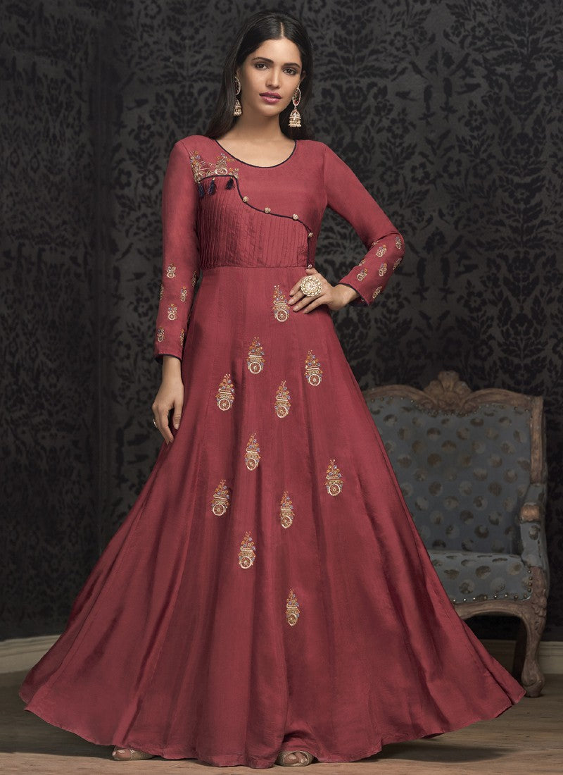 Craftsvilla Peach Silk Embroidered Circular Semi-stitched Gown