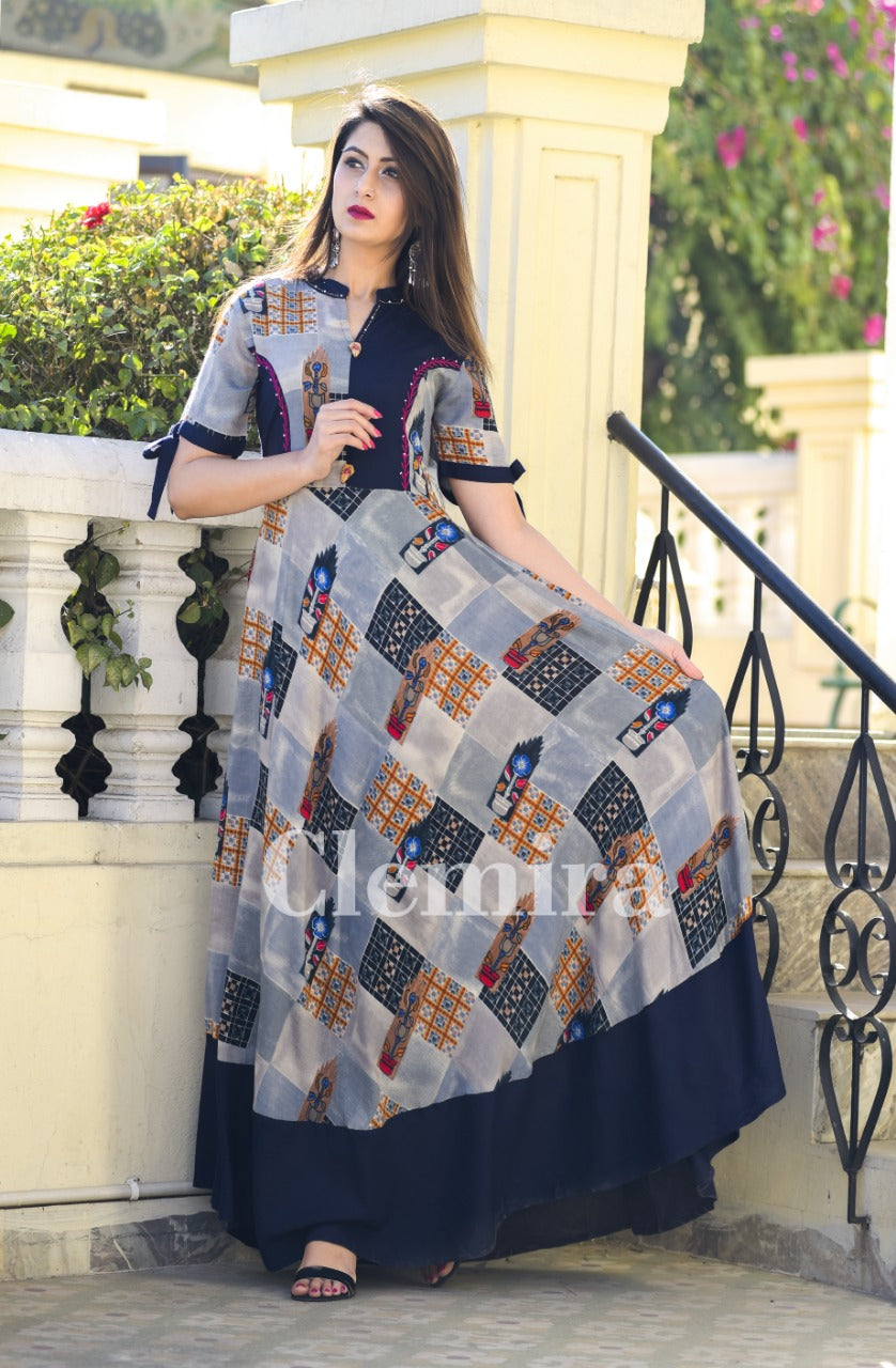 Amazing Blue Rayon With Mix Cotton Print Party Wear Kurti
