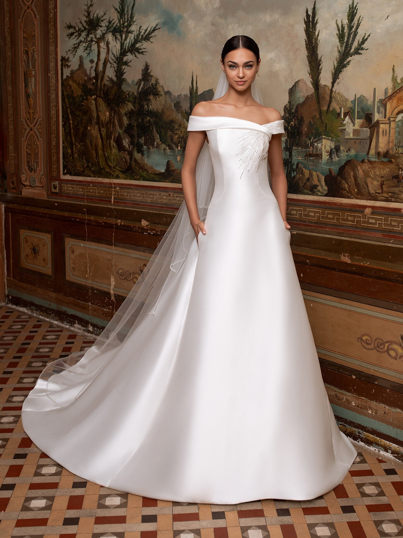 A-line wedding dress with off-the-shoulder sleeves