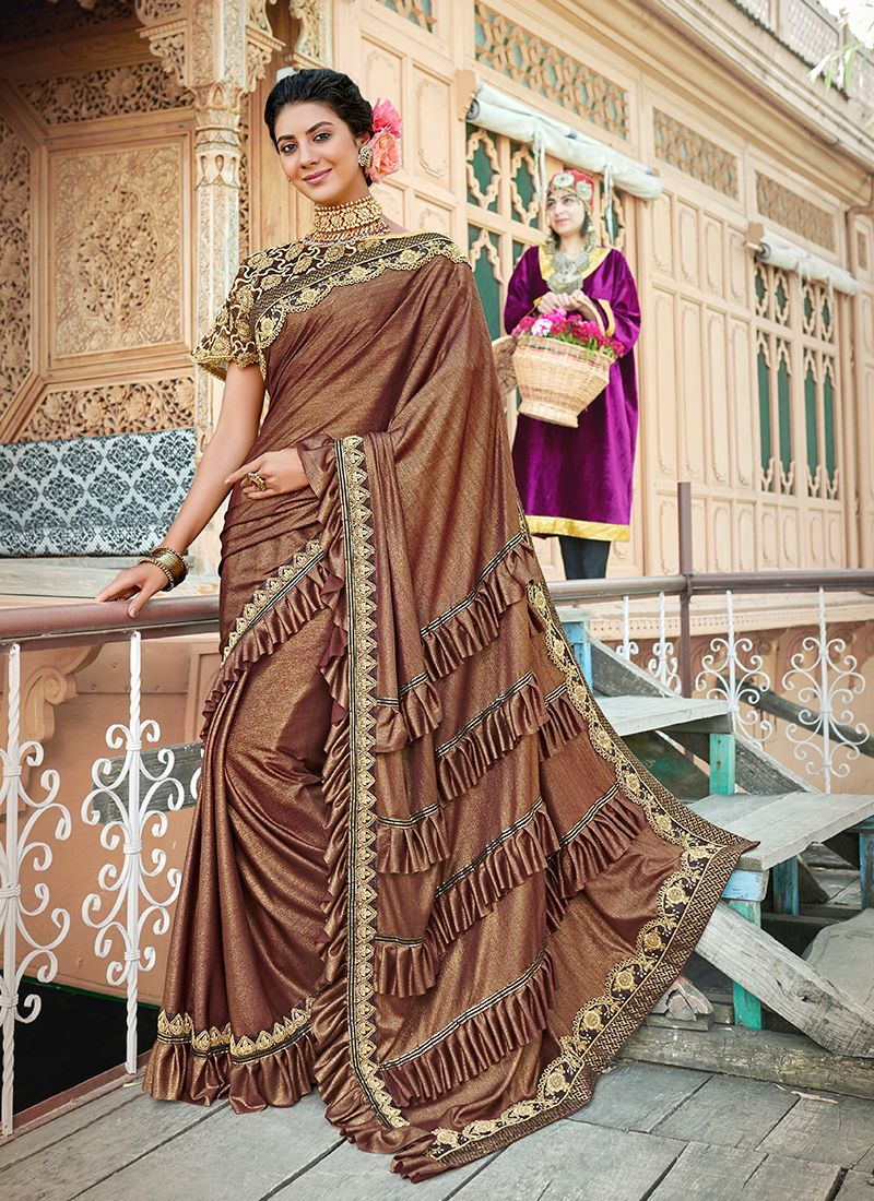 Brown Reception Lycra Classic Designer Saree
