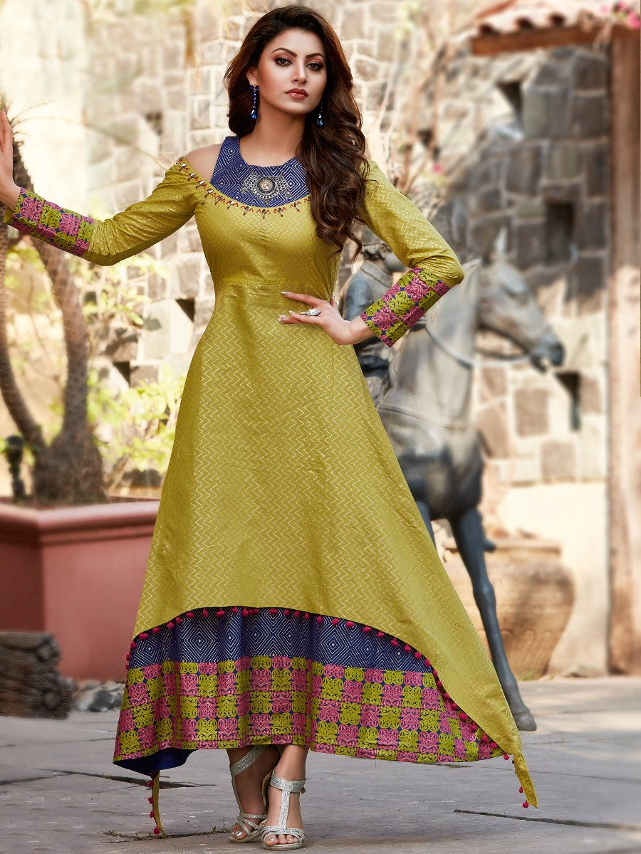 Glimmer Lime Green Double Layered Cold Shoulder Kurti