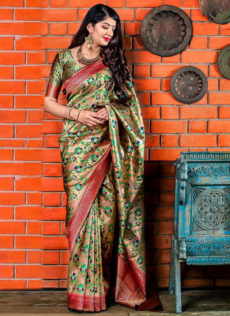 Golden Beige Art Benarasi Patola Silk Saree