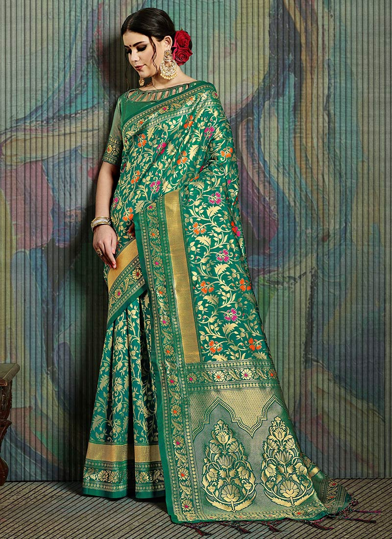 Green Art Silk Jacquard Saree