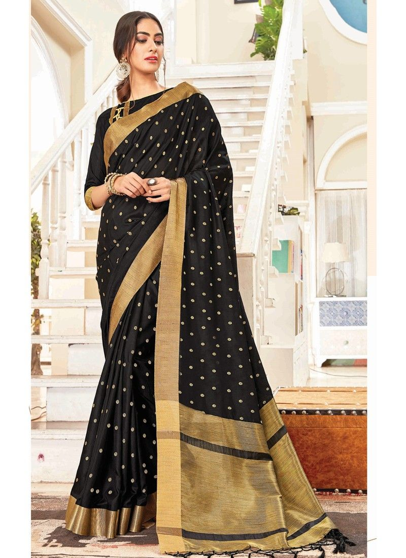 Handloom Silk Black Traditional Wedding Saree Collection