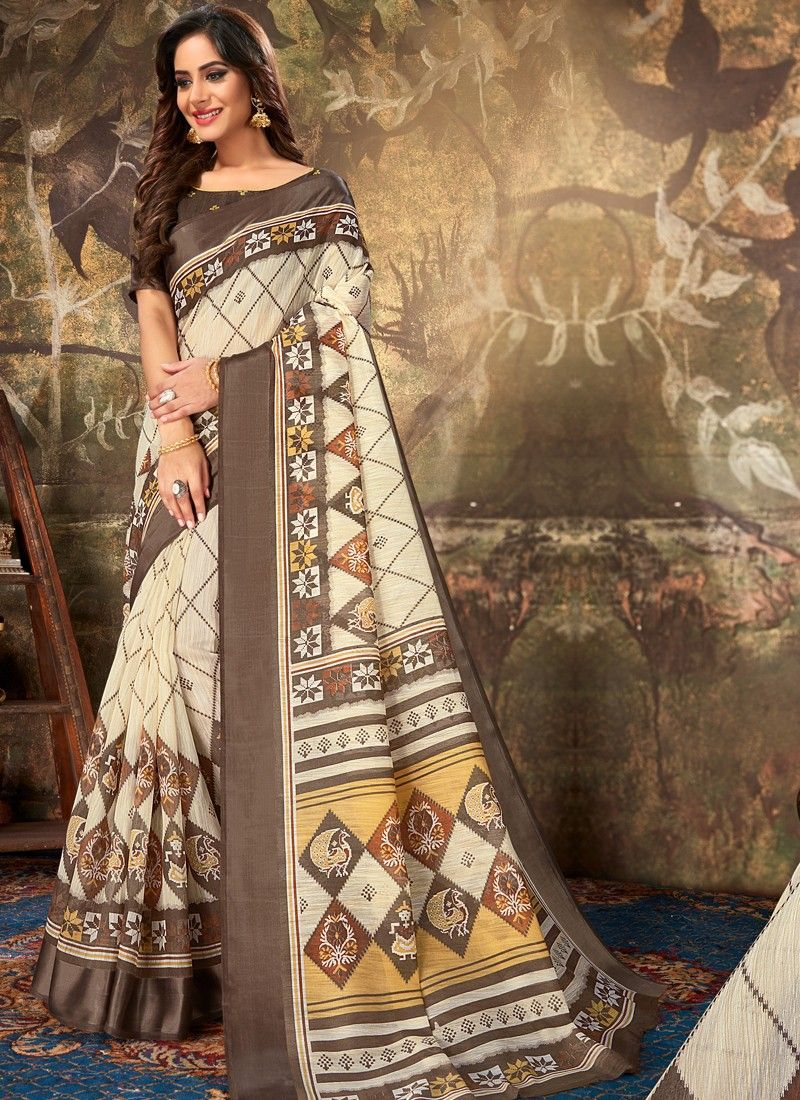 Outstanding Beige Color Cotton Classic Designer Saree