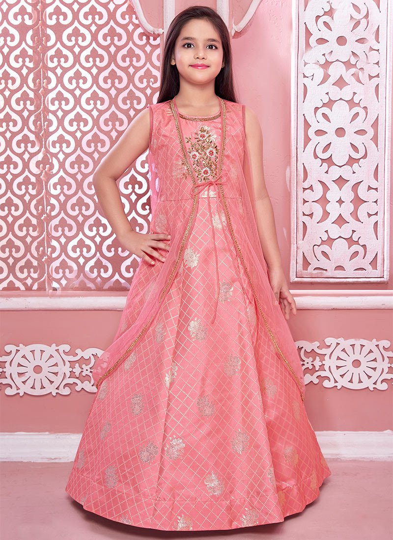 Pink Net Embroidered Gown