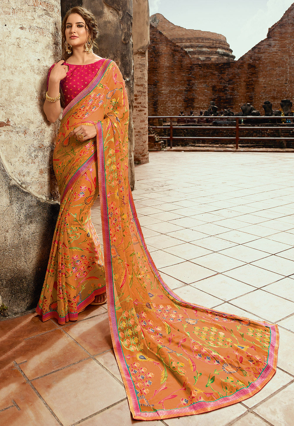 Printed Chiffon Brasso Saree in Light Orange