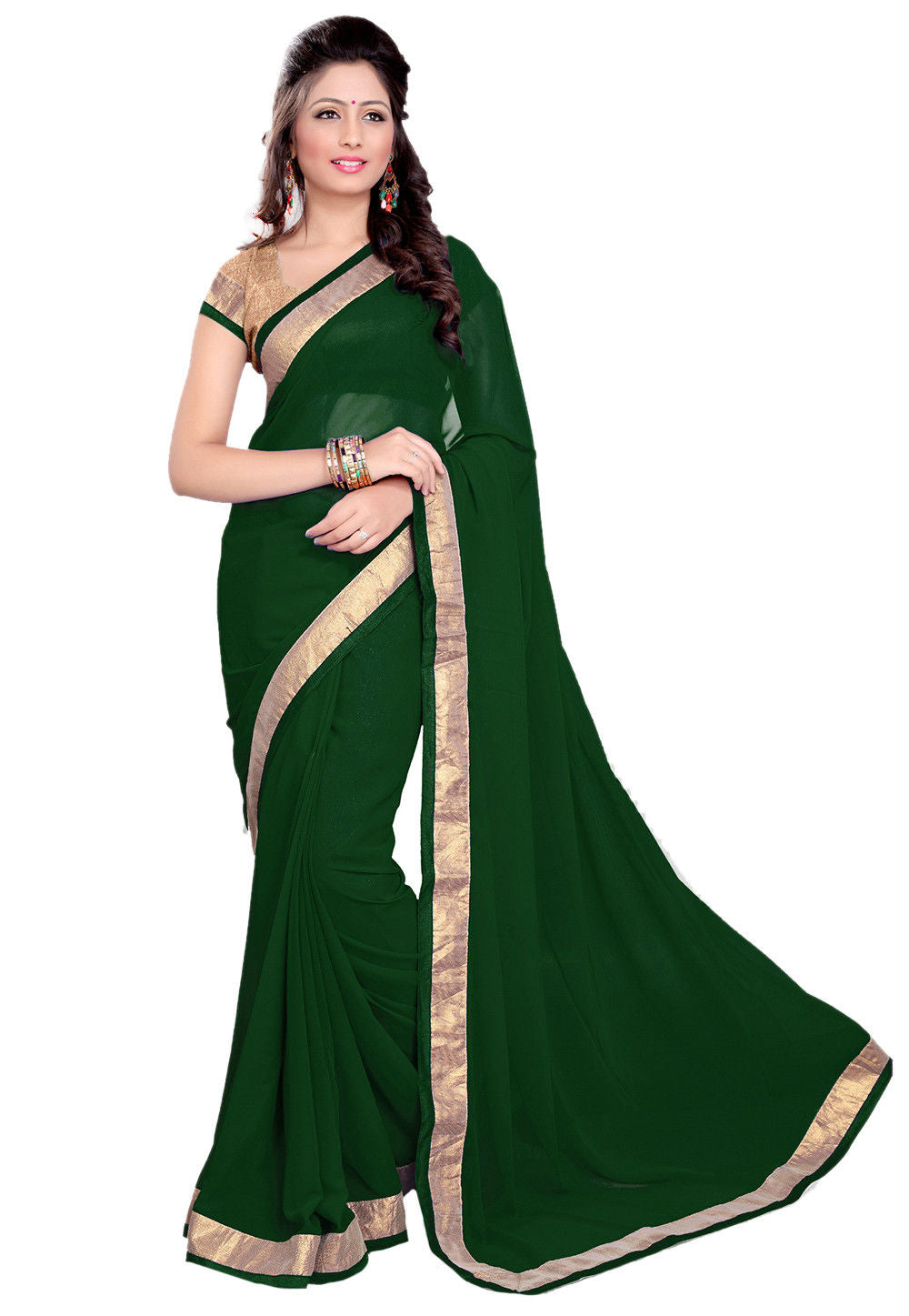 Patch Border Georgette Saree in Dark Green