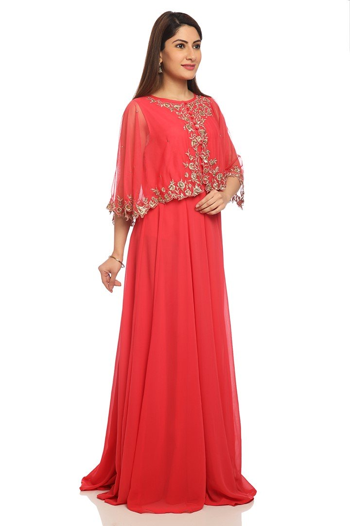 Coral Art Silk Party Wear Gown