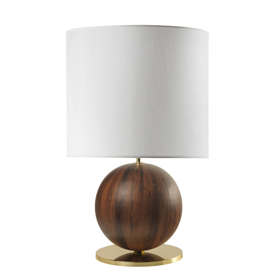 Lampshade IMBU 01 polished brass + sphere with imbuia wood blade + white linen shade