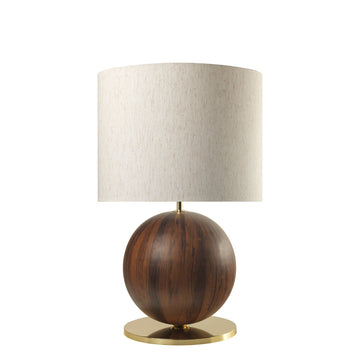 Lampshade IMBU 01 polished brass + sphere imbuia wood blade + black linen shade