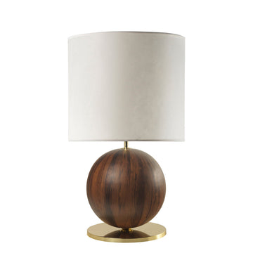 Lampshade IMBU 01 polished brass +  sphere with imbuia wood blade + vegetal parchment shade