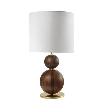 Lampshade IMBU 02 polished brass + sphere with imbuia wood blade + white linen shade