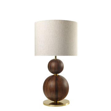 Lampshade IMBU 02 polished brass + sphere imbuia wood blade + mix linen shade